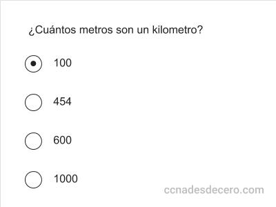 Ejemplo de pregunta CCNA de múltiple opción con respuesta única